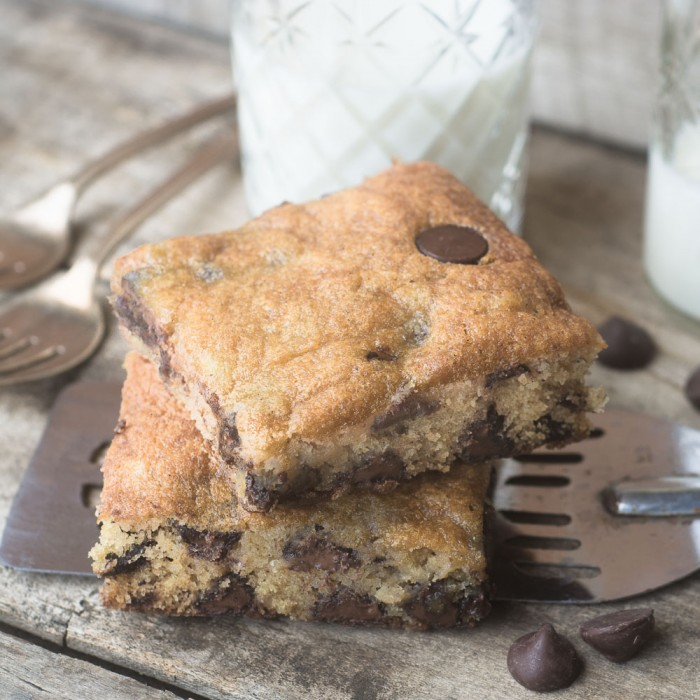 Moist Banana Chocolate Chip Blondies, a wholesome dessert or snack