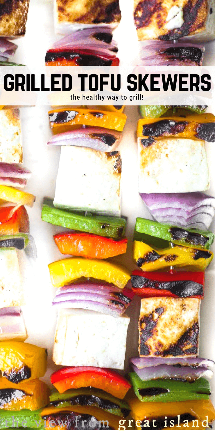 Easy, healthy, and delicious, Grilled Tofu Skewers is probably my family's favorite vegan meal, and it can be on the table in less than 30 minutes! #grilling #vegan #vegetarian #dinner #recipe #30minutemeal #weightwatchers #lowcalorie #tofu #vegetableskewers #grilledvegetables #summer #memorialday #4thofjuly