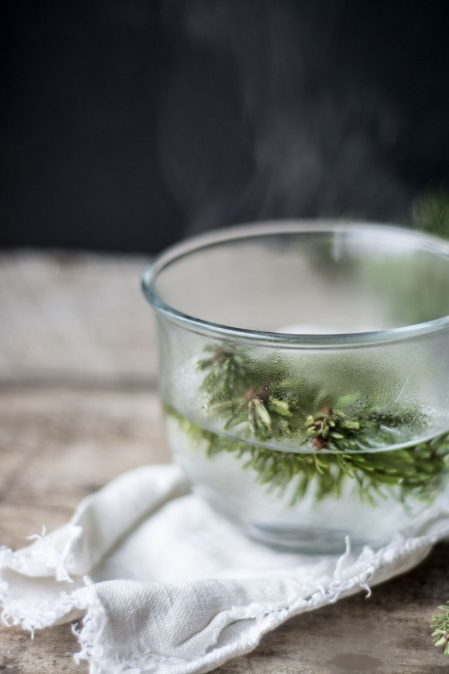 Healing Confier Tea made with Spruce needles is high in Vitamin C and anti-oxidants --- it will naturally sooth a cold or cough, and it smells like a walk in the woods!