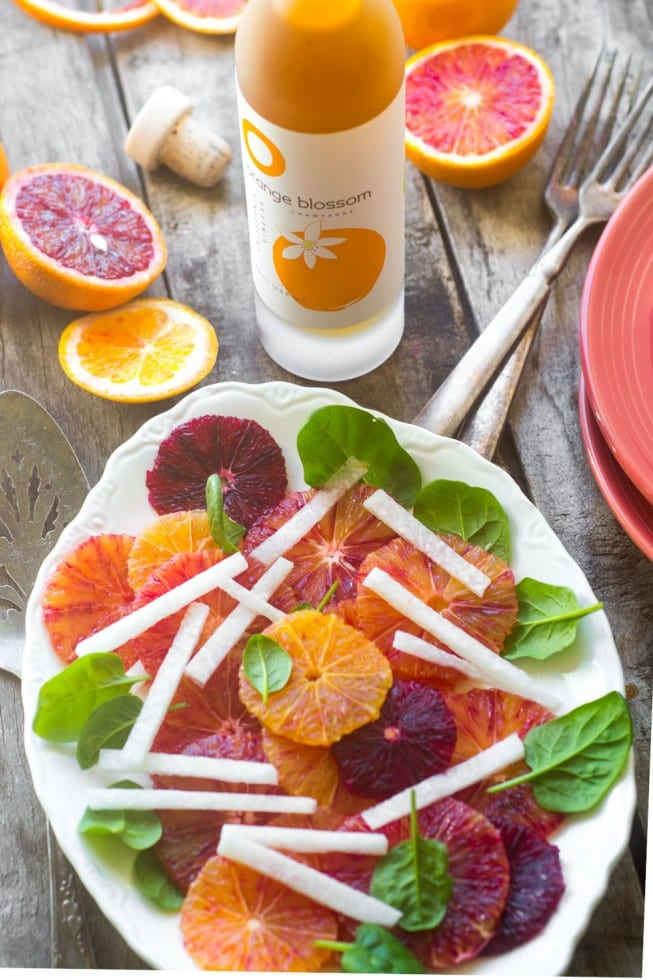 Blood Orange and Jicama Salad dressed with O Orange Blossom Vinegar