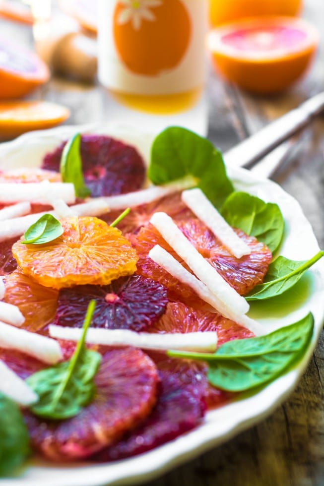 Healthy and light Blood Orange and Jicama Salad is beautiful, delicious, and full of Vitamin C!