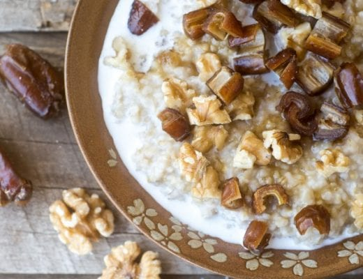 Healthy Date Nut Overnight Oats made with steel cut oats
