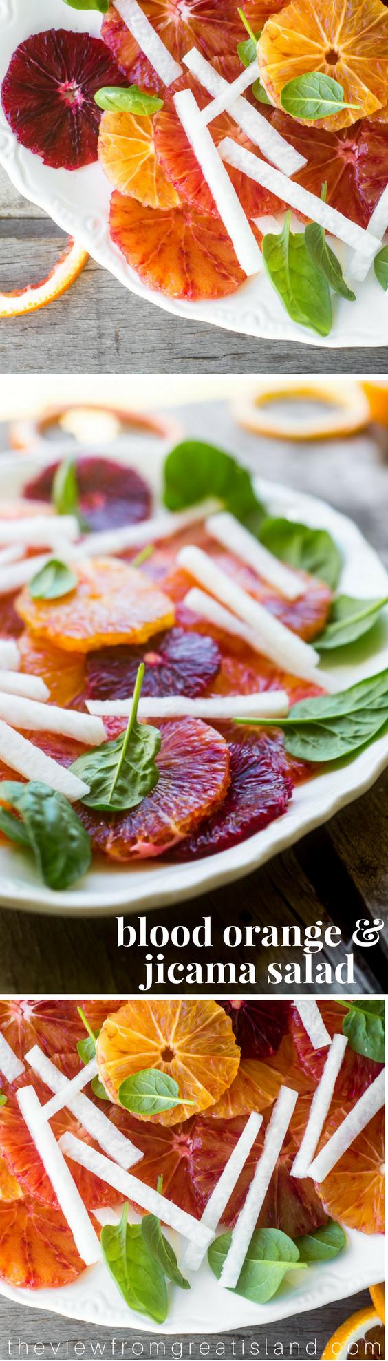 Blood Orange and Jicama Salad is a refreshing mix of juicy citrus and crunchy jicama --- #citrus #bloodoranges #oranges #jicama #wintersalad #salad #orangesalad #healthy #paleo #whole30 #glutenfree #lowcalorie #weightwatchers #citrussalad #sidedish