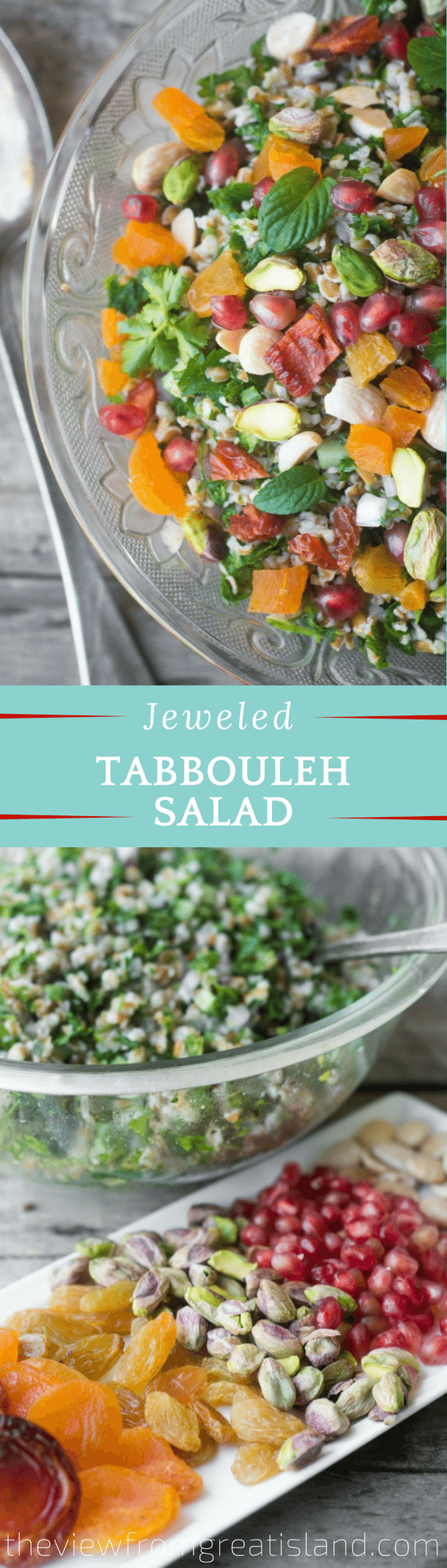Jeweled Tabbouleh Salad is a healthy Mediterranean cracked wheat salad studded with colorful, gem-like fruits and nuts...#salad #grainsalad #crackedwheat #bulgar #middleeastern #mediterranean #healthy #sidedish #Valentinesday #lunch #brunch #nomayosalad #wholegrain #driedfruit #nuts