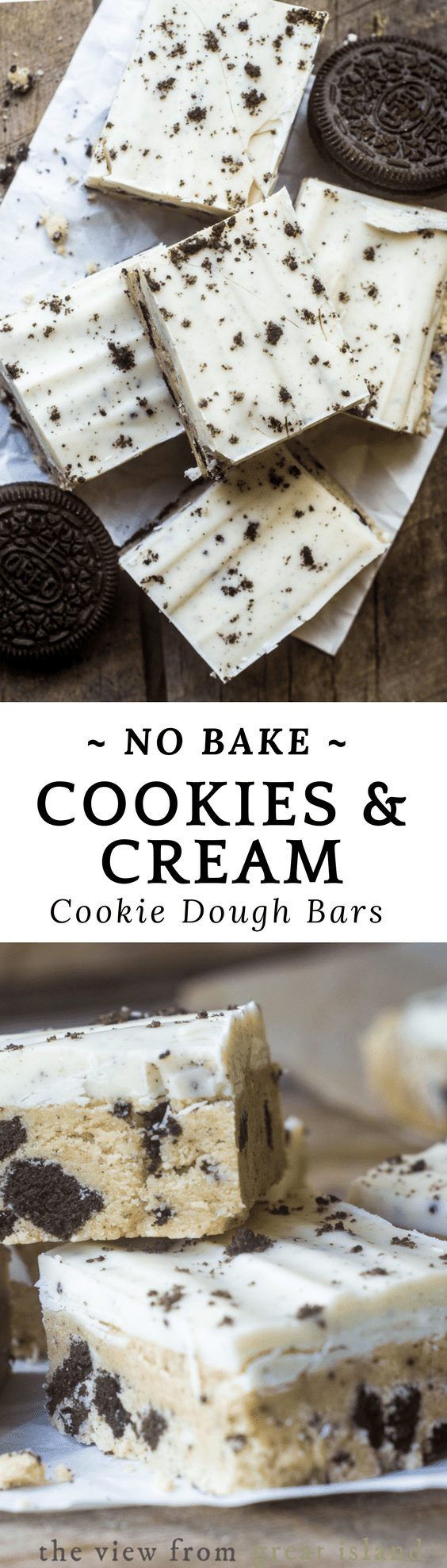 No Bake Cookies and Cream Cookie Dough Bars pin