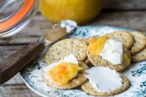 Spicy Pineapple Habanero Jam with cheese and crackers