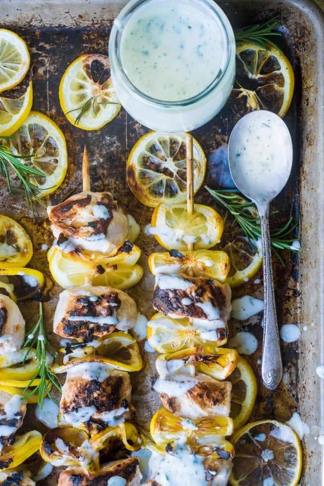 Lemony Buttermilk Chicken Skewers