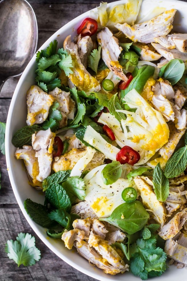Saffron Chicken & Herb Salad is a healthy salad with a unique combination of flavors