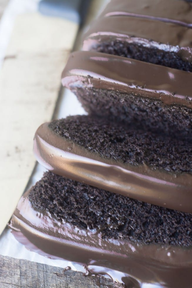 A classic deep dark Chocolate Pound Cake, sliced