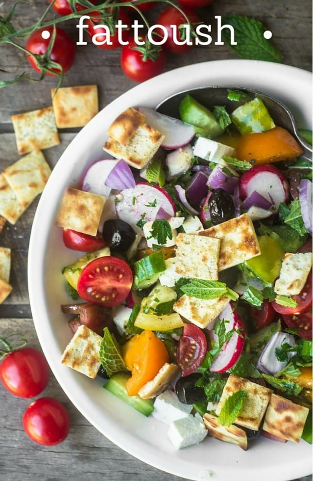 Fattoush is a vibrant Middle Eastern Salad made with chunky fresh veggies, crisp toasted pita bread, and a tangy lemon-sumac dressing