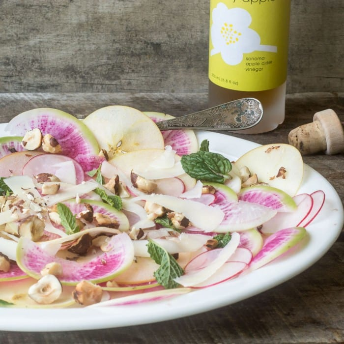 Healthy and low calorie Shaved Apple and Radish Salad