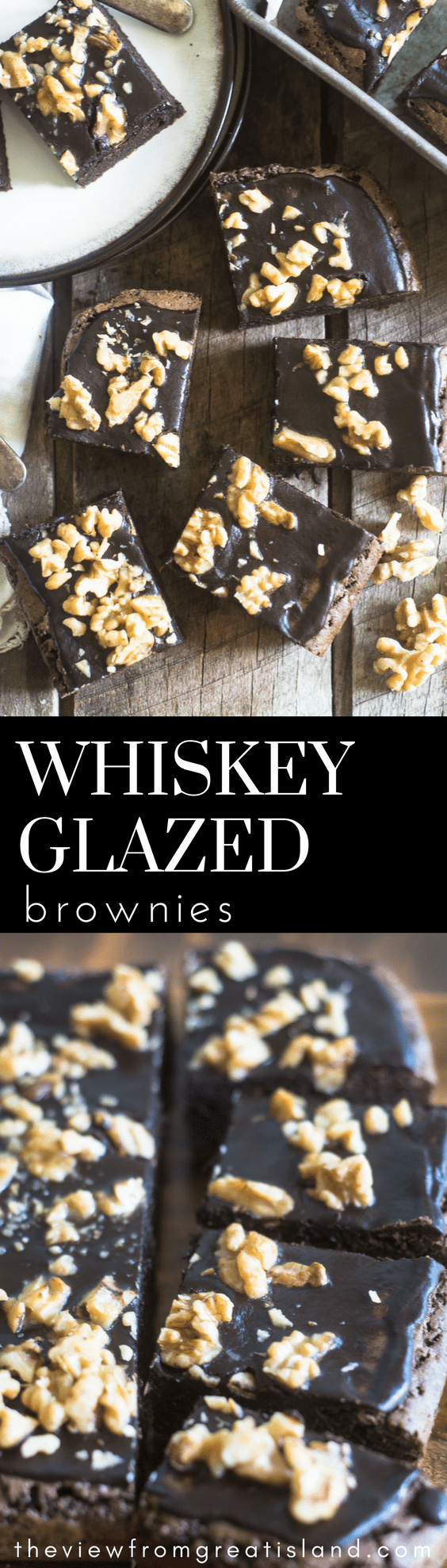 Whiskey Glazed Brownies ~ because the only way to improve on a fabulously decadent frosted brownie is to add whiskey, of course! #brownies #dessert #chocolate #bestbrownies #easybrownies #whiskey #frostedbrownies #recipe #brownierecipe