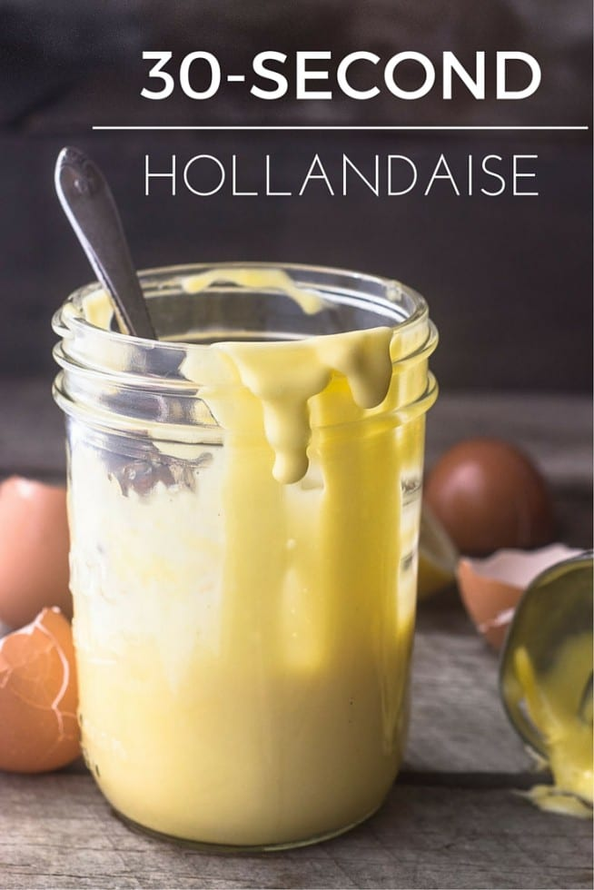 A 30 Second Hollandaise Sauce made quick and creamy with your immersion blender --- no cutting corners, either, this is the authentic stuff!
