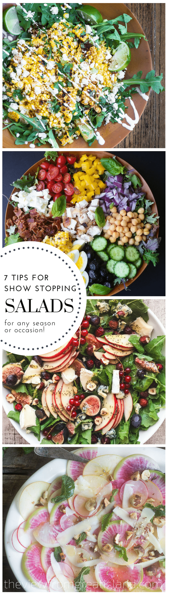 Take your salad from so-so to stunning with these 7 tips --- and when something looks this fabulous and fresh it's a pleasure to serve, and even more fun to eat. #salad #sidedish #composedsalad #arugula #choppedsalad #beansalad #caesarsalad #beansalad #healthy #glutenfree #memorialday #summer #4thofjuly #barbecue