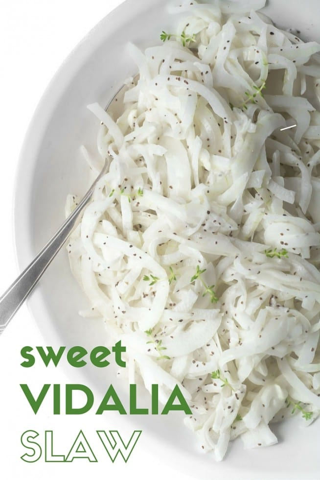 Sweet Vidalia Onion Slaw is a simple side that goes with anything and everything!