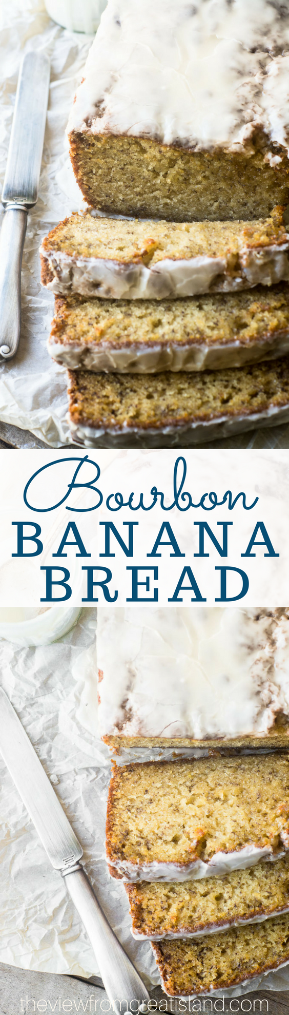 Plain old banana bread gets a makeover and, va-va-voom, Bourbon Banana Bread is in the house --- extra moist and definitely decadent, but still welcome at the breakfast table. #quickbread #bestbananabread #cake #poundcake #bananacake #brunch #breakfast #bourbon
