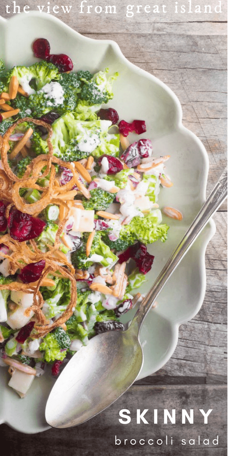 Skinny Broccoli Salad is a healthier version of a potluck favorite, made lighter but just as yummy, with  a homemade Greek yogurt ranch dressing. #salad #broccoli #skinny #healthy #homemade #yogurt #ranchdressing #vegetarian #recipe #potluck #sidedish