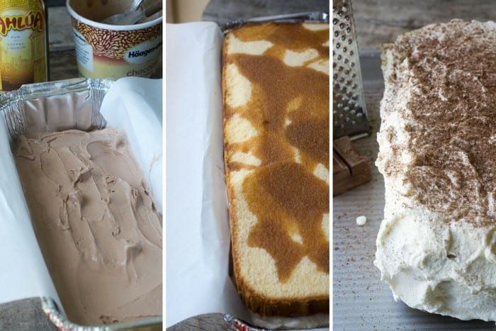 Tiramisu Ice Cream Cake made with frozen pound cake