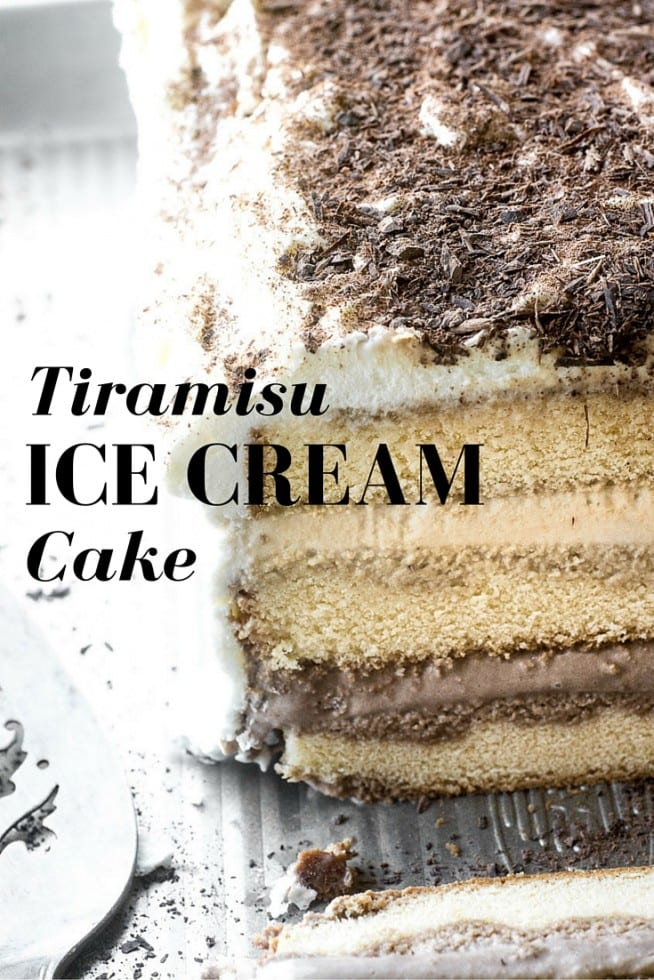 Tiramisu Ice Cream Cake is a summer classic all grown up and made quick and easy with store bought frozen pound cake, coffee liqueur, and your favorite ice cream --- chocolate and coffee, of course! #cake #icecream #tiramisu #frozen #dessert #poundcake #summer #coffeeicecream #italiandessert #frozendessert #easy #homemade #saralee
