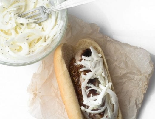 Brat with Sweet Vidalia Onion Slaw --- yum!