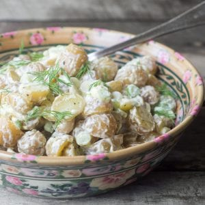 New Potato Salad with 30 Second Aioli is the ultimate summer side! | theviewfromgreatisland.com