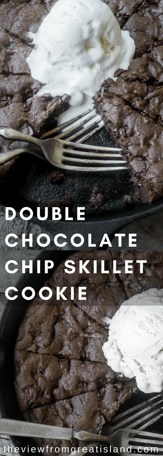 Double Chocolate Chip Skillet Cookie...if those words don't send a little shiver down your spine then you might not be firing on all cylinders...just saying. #skilletcookie #cookiepie #chocolatechip #chocolatechipcookie #doublechocolatechipcookie #dessert #chocolate #cookie #cookiepie #doublechocolate