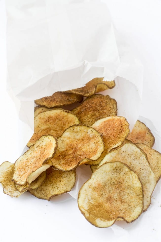 Skinny Microwave Jalapeño Chips in a white paper bag