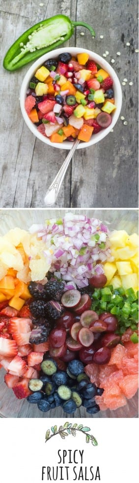 Spicy Fruit Salsa is sweet/hot, full of flavor, and so healthy --- pile it on anything and everything! | theviewfromgreatisland.com