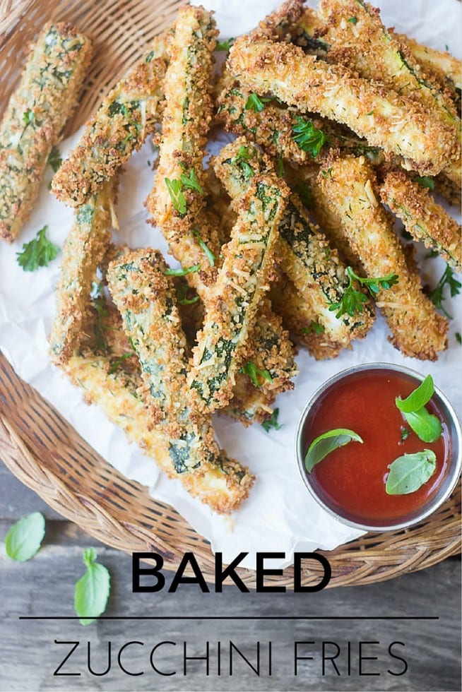 These Healthy Zucchini Fries are just as yummy and crisp as the restaurant version, minus all those pesky calories because they're baked, not fried. #zucchini #fried #appetizer #breaded #sticks #healthy #healthier #homemade #baked #fries
