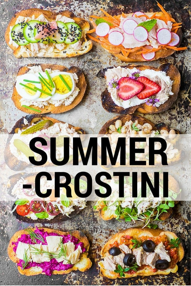 Colorful and healthy Wild Caught Tuna Crostini make the perfect summer appetizer --- just add wine and friends and you've got a party! theviewfromgreatisland.com
