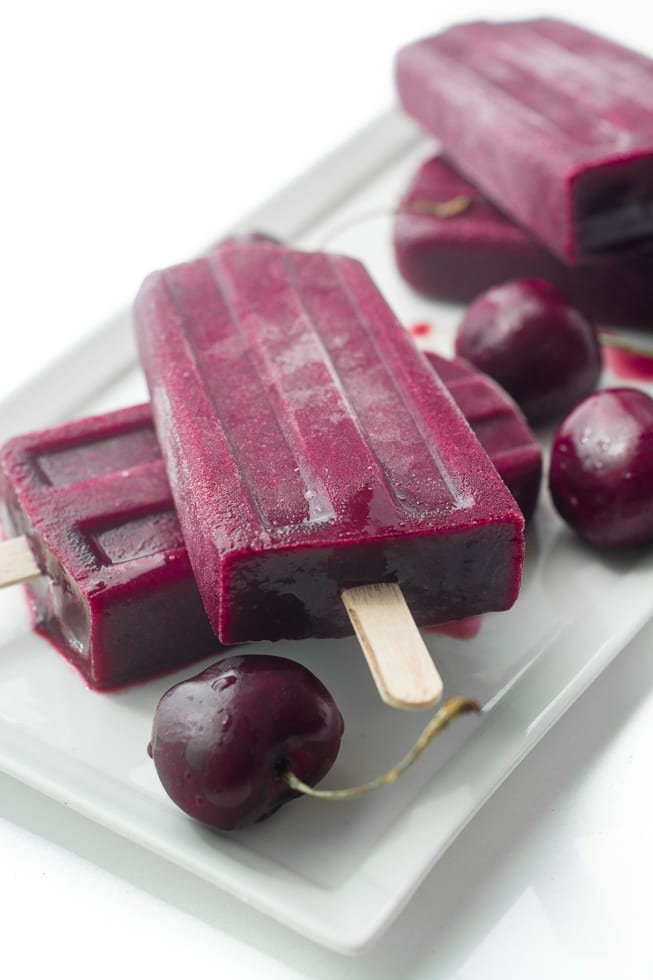Fresh Cherry Lemonade Popsicles are a healthy low sugar frozen treat! | theviewfromgreatisland.com