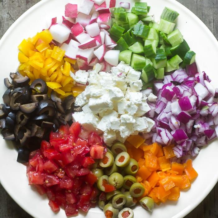 Ingredients for Israeli Salad Pasta | theviewfromgreatisland.com