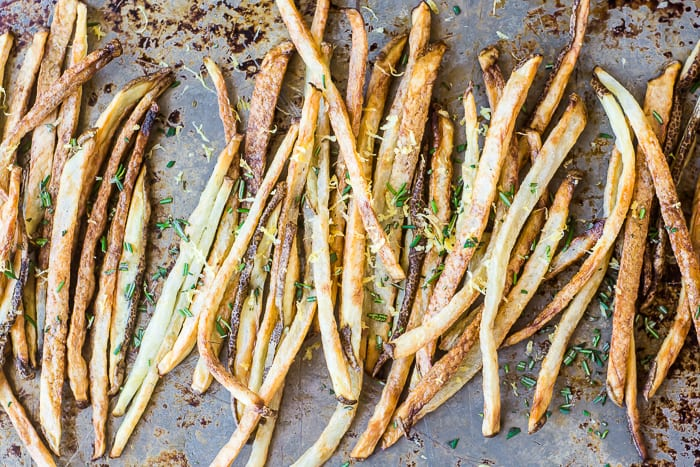 Oven baked Skinny Fries will satisfy your craving for something crisp without sacrificing your diet ~ theviewfromgreatisland.com