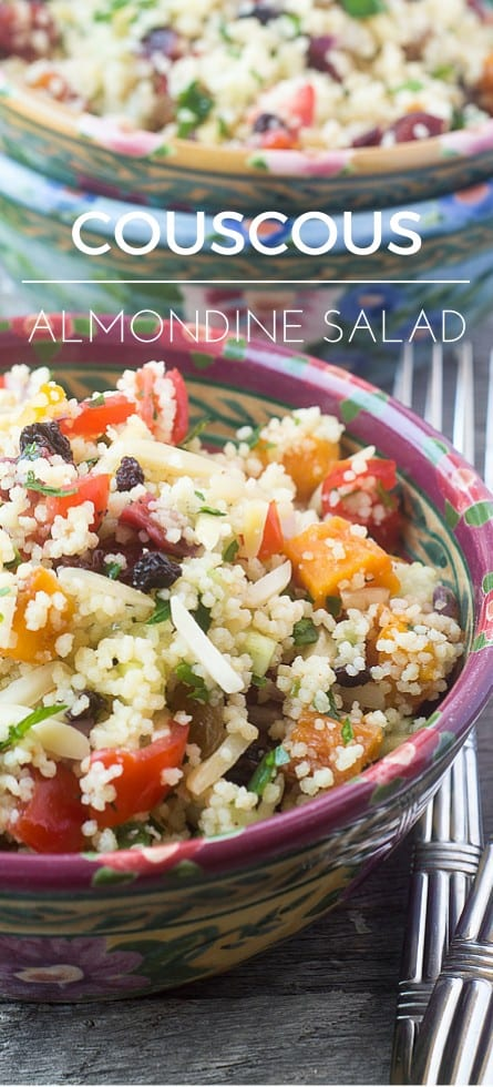 COUSCOUS ALMONDINE SALAD ~ a quick salad full of interesting flavors and textures that keeps all week in the fridge! ~ theviewfromgreatisland.com