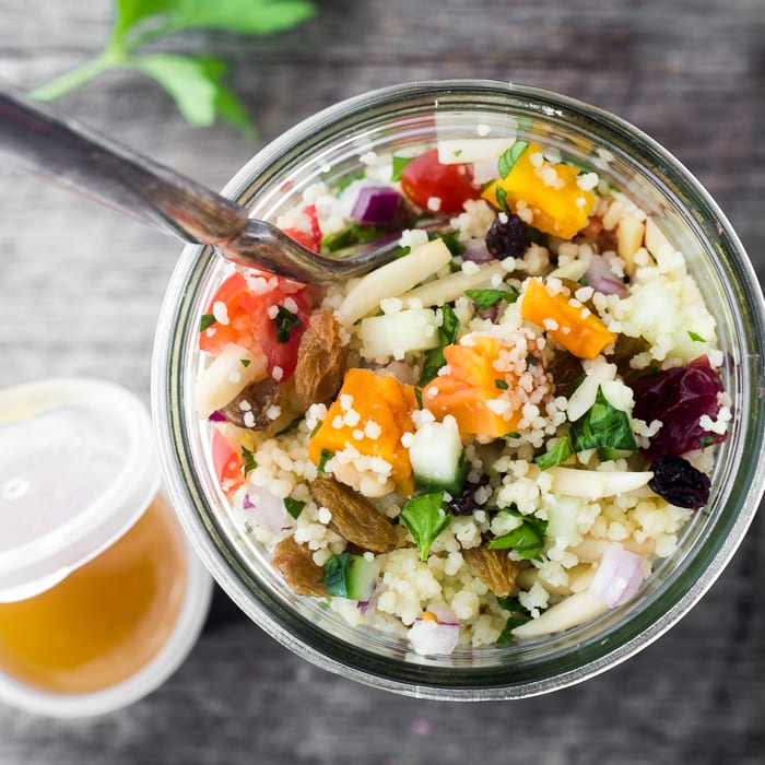 Couscous Almondine Salad is full of healthy flavorful ingredients and keeps all week in the fridge! ~ theviewfromgreatisland.com