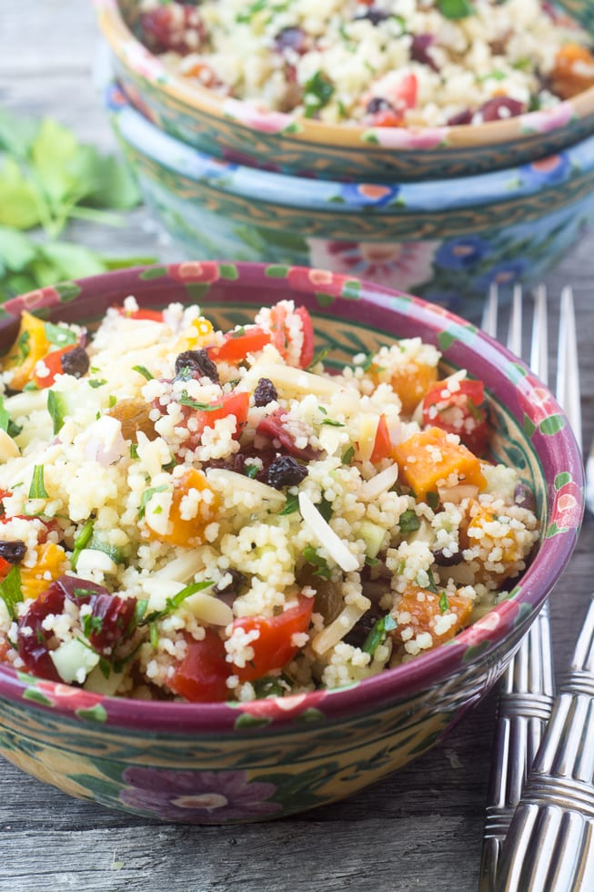 Couscous Almondine Salad with a spiced lemon vinaigrette is the perfect working lunch, and it keeps all week in the fridge! ~ theviewfromgreatisland.com