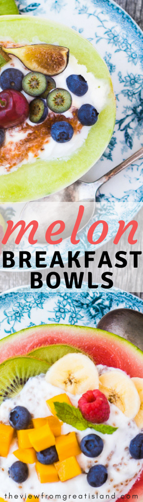 Melon Breakfast Bowls are colorful, healthy, and fun --- you simply can't have a bad day when you start it with creamy yogurt piled in half a melon and topped with more fruit...go ahead, eat your bowl, it's good for you! #healthy #healthybreakfast #glutenfreebreakfast #yogurtbowls #melon #fruit #paleo #whole30 #WeightWatchers
