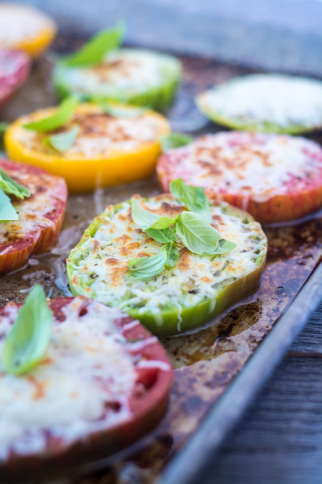 Minimal Monday: Heirloom Tomatoes Parmesan, the world's easiest and most delicious side dish! | theviewfromgreatisland.com