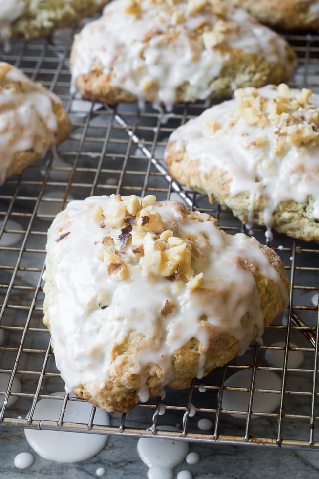 Lemon Glazed Zucchini Walnut Scones