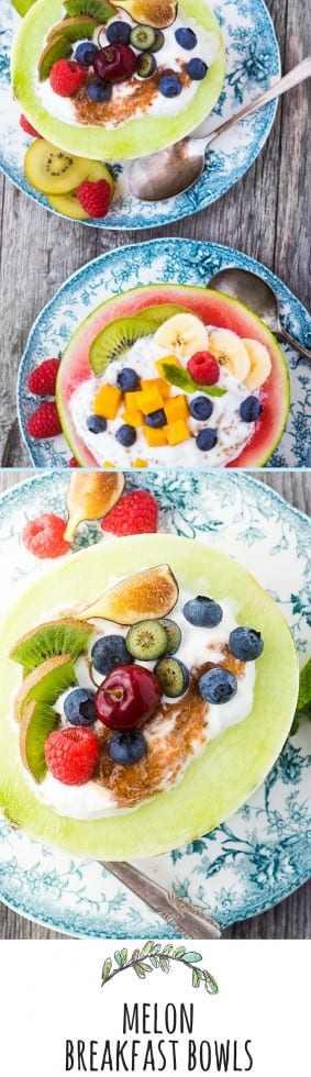 Melon Breakfast Bowls are colorful, healthy, and fun — you simply can't have a bad day when you start it with creamy yogurt piled in half a melon and topped with more fruit…go ahead, eat your bowl, it's good for you! * theviewfromgreatisland.com