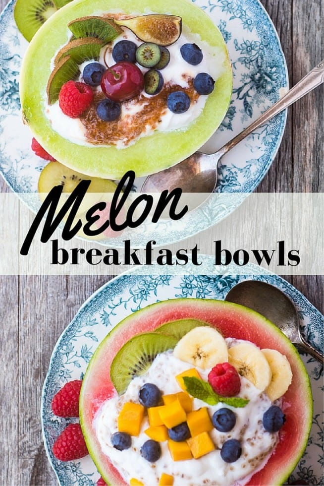 Healthy and low calorie Melon Breakfast Bowls filled with yogurt and fruit will start your day out on the right foot! | theviewfromgreatisland.com
