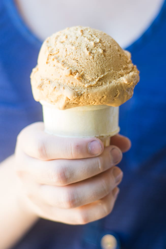 an ice cream cone of no churn dulce de leche ice cream