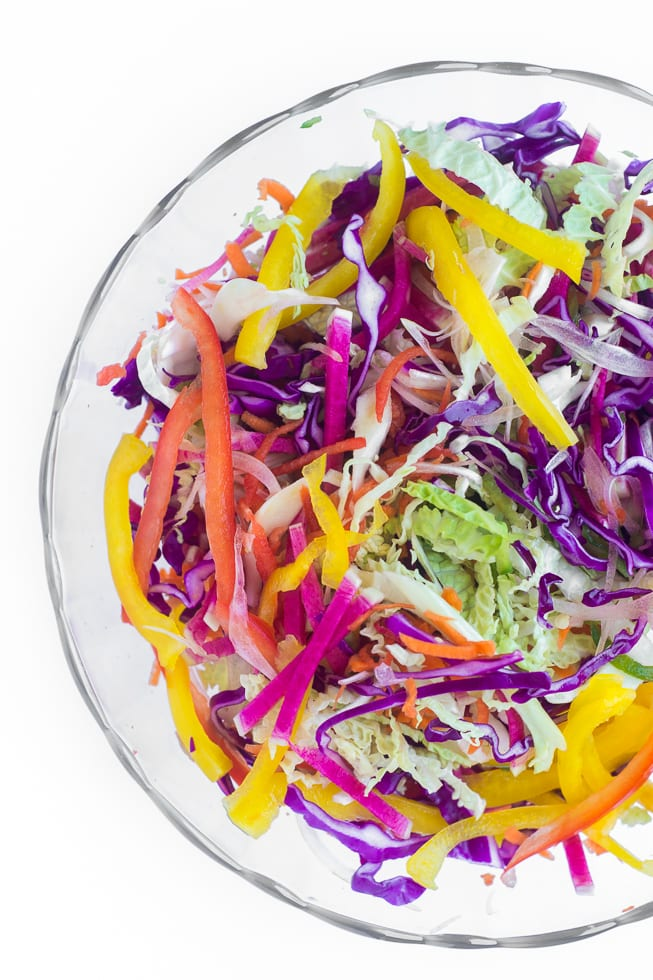Spicy Rainbow Slaw is the perfect side for all your summger meals | theviewfromgreatisland.com