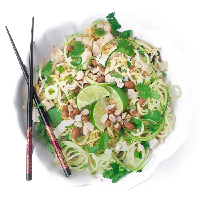 Healthy, low carb Zoodle Pad Thai Salad | theivewfromgreatisland.com