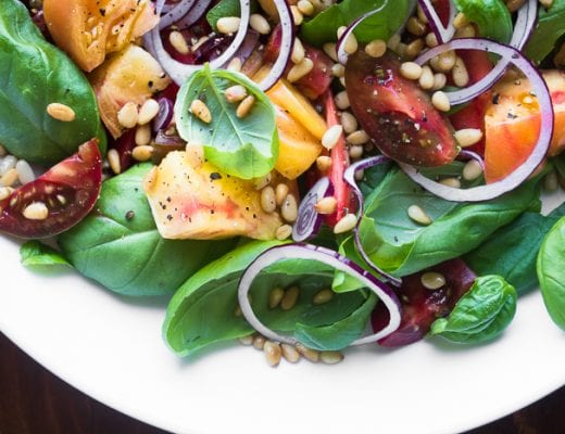 Basil Salad with Tomatoes is a clelbration of summer's best produce! | theviewfromgreatisland.com