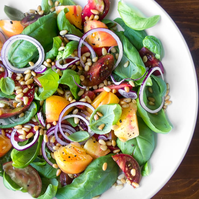 Basil Salad with Heirloom Tomatoes