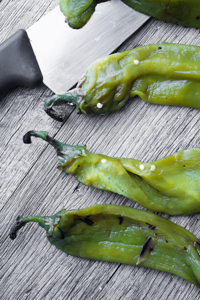 Roasted Hatch chile peppers for Hatch Green Chile Cornbread ~ theviewfromgreatisland.com