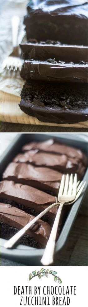 Beware ~ this Death by Chocolate Zucchini Bread is addicting in the worst way.  This classic zucchini bread recipe is stepped up a notch or two with lots of dark chocolate and a killer ganache frosting ~ #zucchinicake #zucchinibread #poundcake #chocolatecake #chocolate #summerdessert