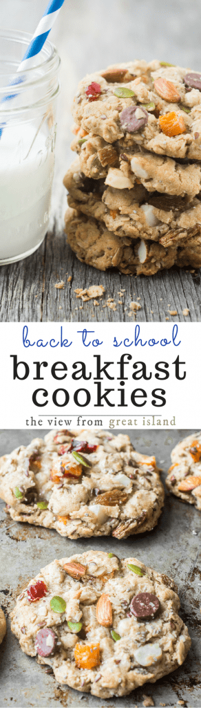 Breakfast Cookies are chocked full of fruits, nuts, seeds and oats. There's a little bit of sugar in there too, just for energy, of course...and yes, those are dark chocolate chips...what's your point? | kids snacks | healthy snacks | oatmeal cookies |
