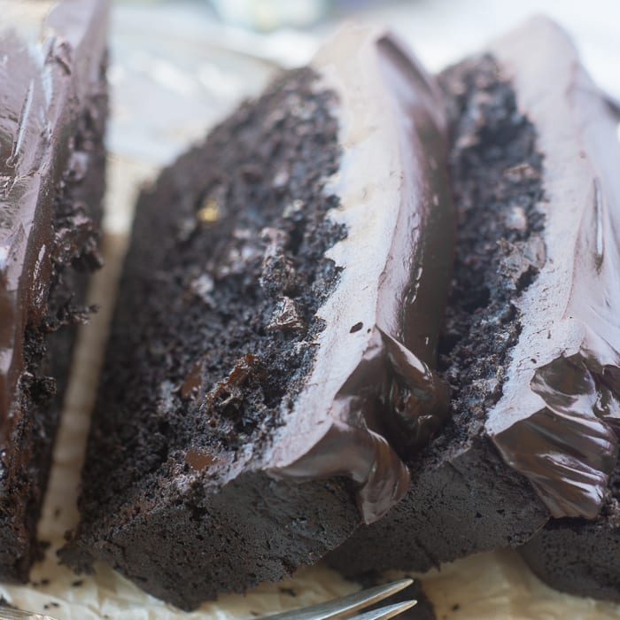 Death by Chocolate Zucchini Cake with Bittersweet Chocolate Ganache ~ theviewfromgreatisland.com